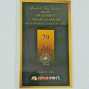 1,Grain of Gold Alaskan Nuggets in sealed investment card with free shipping
