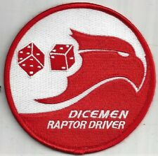 USAF 90th FIGHTER SQ  PATCH -   'DICEMEN RAPTOR DRIVER'                   COLOR