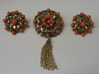 Vintage Coral Brooch and Clip Earring set
