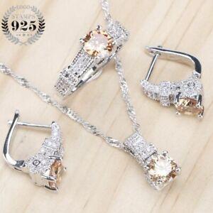 Ring Braut 925 Silber Schmuck Set Hellgelb Gold Zirkonia Damen Anhänger Ohrringe