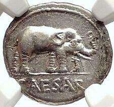 JULIUS CAESAR Authentic Ancient 49BC Silver Coin w ELEPHANT NGC Certified i69583