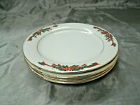 "Fine China POINSETTIA & RIBBONS Set of 4-7 1/2"" Salad Plates Christmas Gold ec"