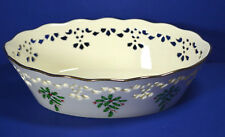"Lenox Bowl Holiday China Pierced Large Serving Bowl 9-1/4"" Holly Berries Christm"