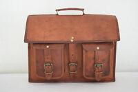 """Vintage Leather Briefcase 18"""" Laptop Satchel Business Messenger Shoulder Bag"""