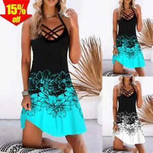✅ Damen Blumen Kleid Sommerkleid Riemchen Strandkleid Freizeit Boho Partykleid