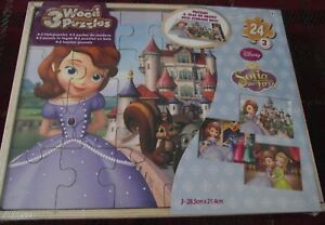 SUPERB DISNEY JUNIOR SOFIA THE FIRST 3 WOOD PUZZLES IN WOODEN STORAGE BOX SEALED