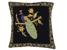 Black Peacock Dabka Work Embroidered Pillow Cover Couch Sofa Throw Toss Cushion