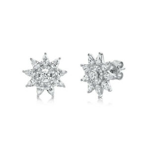 Pear Cut Diamond Star Stud Earrings 14K White Gold Round Natural Certified