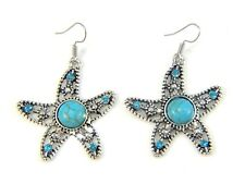 Turquoise Boho Antique Silver Drop Dangle Earrings Hook Ethnic Tribal Star Fish