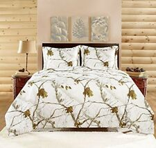 Queen Bedding Set 3 Piece White Snow Camo Camouflage Realtree Comforter Gift New