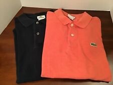 Lacoste men's polo shirts logo lot of 2 size 5 navy, orange short sleeve