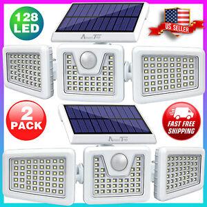 2 Pack Solar Securit Outdoor 800LM LED Motion Sensor Wall Lights IP65 Waterproof