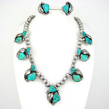 Vtg Cochiti FELICITA EUSTACE Sterling Carved Turquoise Necklace Earrings Set   G