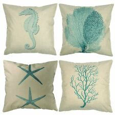 Nautical Themed Seaside 4 Set Light Green Cushion Cover Durable Pillow Case New