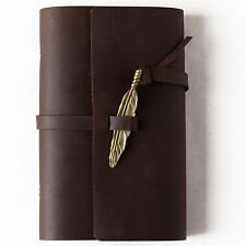 Ancicraft Leather Journal Refillable with Feather 3.75 X 6.75 Inch A6 Lined Gift