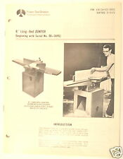 """Rockwell 8"""" LONG-BED JOINTER Manual BEGINNING WITH SERIAL  EX-3690) + PARTS LIST"""