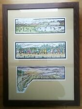 More details for framed linocut & watercolour painting: brent geese, beach huts wells-next-sea.