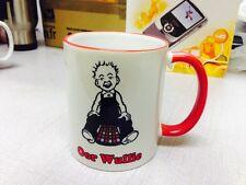 OOR WULLIE Printed on Red Rim & Handle Mug can be personalised Gift Boxed