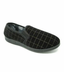 BRAND NEW MENS WARM COMFORTABLE CHECK VELOUR SLIPPERS-BNWT