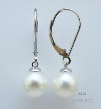 HS Round South Sea Cultured Pearl 10mm 14K White Gold Hoop Earrings AAA Grading