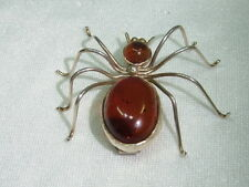 925er Silber Brosche Spinne Körper Bernstein H 1,5 L.d,5.B 5 cm Gewicht 7,6 gr