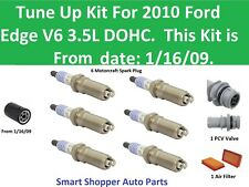 Tune Up Kit for 2010 Ford Edge V6 PCV Valve, Spark Plug, Air Filter, Oil Filter