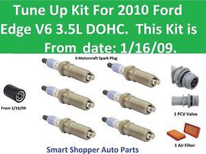 Tune Up Kit for 2010 Ford Edge V6 PCV Valve, Spark Plug, Air Filter, Oil Filter