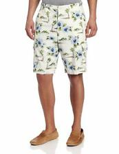 Cubavera Mens Shorts Sz 38 Egret White Multi Tropical Print Casual Cargo Shorts