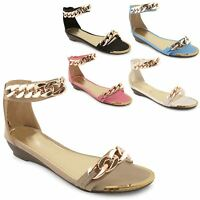 Womens Ladies Flat Heel Open Toe Gold Chain Gladiator Summer Sandals Shoes 3-8