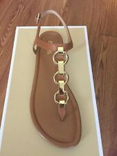 NIB $125 Michael Kors Mahari Acorn Leather Thong Sandal Sz 10M