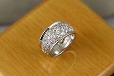 14k White Solid Gold Pave Diamond Band 1.55ct tw F-G color Fine Makes