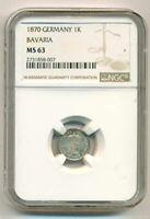 Germany States Bavaria Silver 1870 Kreuzer MS63 NGC