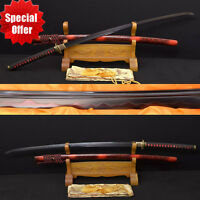 Real Clay Tempered Japanese Samurai Katana Sword Handmade Damascus Steel Sharp