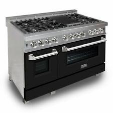 """Zline 48"""" Dual Fuel Range Oven Gas Electric Matte Black Door Ras-Blm-48"""