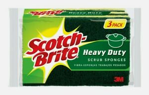 Scotch-Brite Heavy Duty SCRUB SPONGES 3ct Multi-Purpose Tough Job Absorbent HD-3