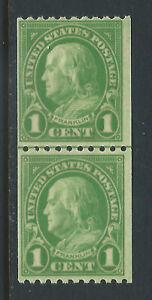 Bigjake:#604, 1 cent Franklin Coil Line Pair  -  *H