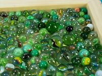 Vintage marbles, green tones for decoration, art, collecting, or play -lot 2