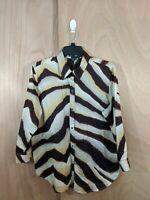 Lauren Ralph Lauren Womens Size XLarge Brown 3/4 Sleeve Button Down Cotton Shirt