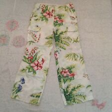 Women's Tommy Hilfiger White  floral Print Cargo style Casual pants Size 10