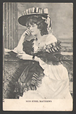 POSTCARD Black & White Printed Card MISS ETHEL MATTHEWS Postally Used