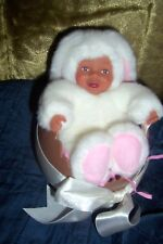 ANNE GEDDES BABY BUNNY IN EASTER EGG AFRICAN AMERICAN DOLL 4''  NEW IN BOX
