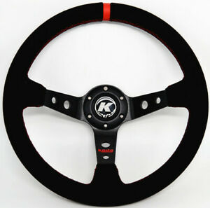 KODE-350mm Deep Dish Suede Steering Wheel Red Stitch Fit 6x70mm PCD Boss Kit