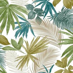 Grandeco Jungle Tropical Wild Metallic Palm Tree Leaves Wallpaper Multi JF3602