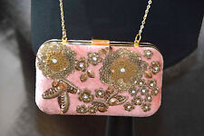 NEW ZARA VELVET BAG PINK EVENING WEDDING PARTY CLUTCH SEQUINED DIAMANTE BEADS 20