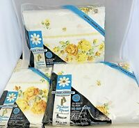 Fashion Manor Muslin Yellow Rose VTG Penneys Double Sheet Set Flat Fitted Cases