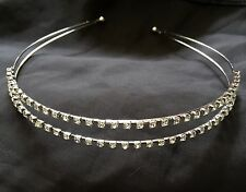 NEW Diamante 2 Row Tiara Headband, Bride, Bridesmaids Wedding Flower Girls Proms