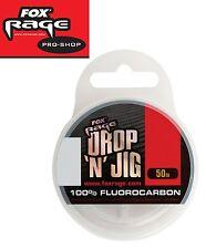 (0,20€/1m) Fox Rage Fluocarbon Schnur Drop 'n' Jig 50m, Vorfachschnur