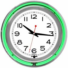 Green Chrome Double Ring Neon Clock 14 inch
