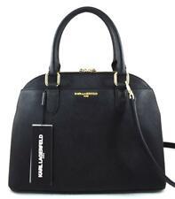 New Women's Karl Lagerfeld Paris Leather Dome Satchel Black/Gold MSRP $228
