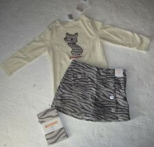 NEW Girls Gymboree Outfit  Kitty Cat Pink PrincessTop Skirt Tights Outfit size 6